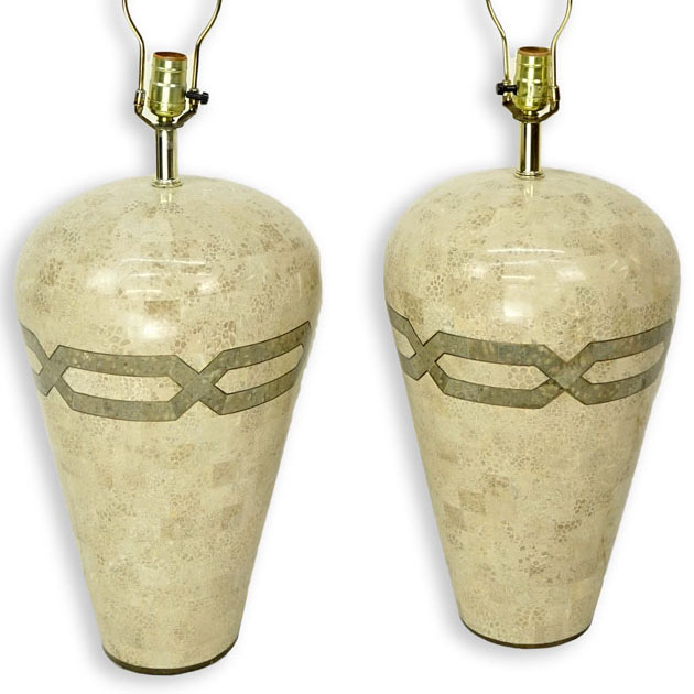 Pair of Mid Century Modern Karl Springer Style, Tessellated Stone Lamps.