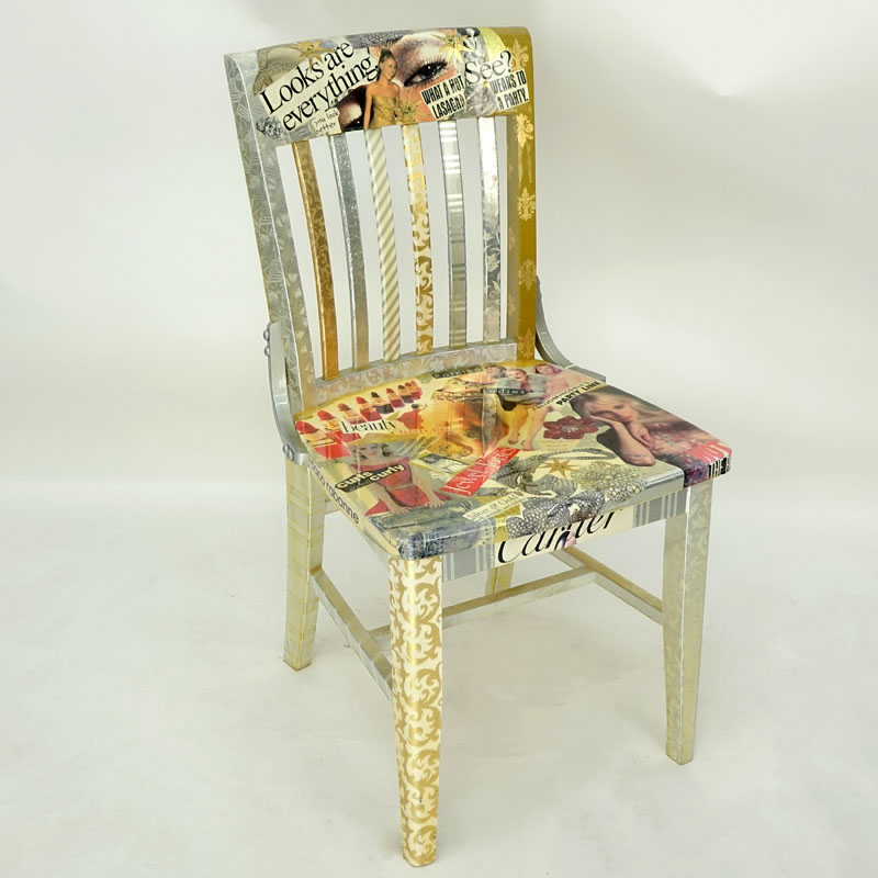 Missy Robbins for Hot Things Inc., Original Wood Side Chair with Collage Under Varnish.