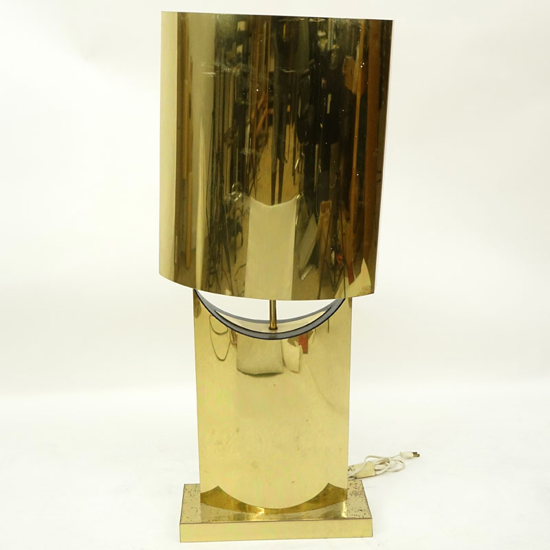 Curtis Jere, Chinese/American (1910 - 2008) Polished Brass Lamp with Shade.