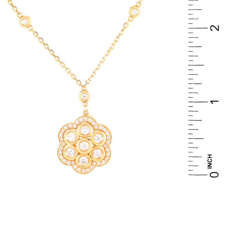 Approx. 1.50 Carat Round Brilliant Cut Diamond and 14 Karat Yellow Gold Pendant Necklace.