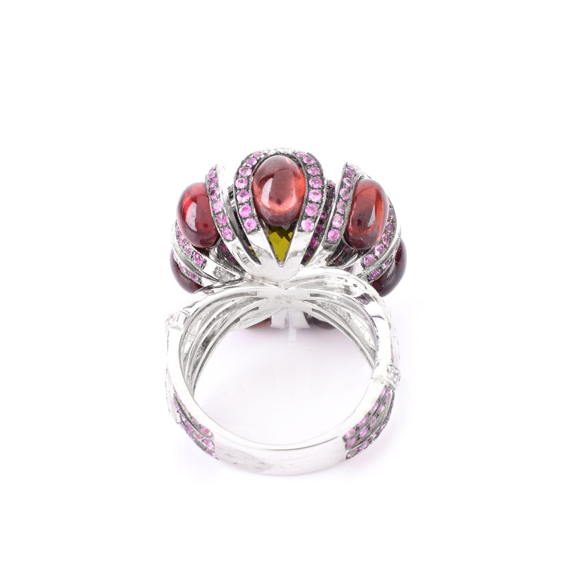 Approx. 1.60 Carat Pink Sapphire, .50 Carat Diamond, 24.0 Carat TW Garnet and Green Quartz and 18 Karat White Gold Ring.