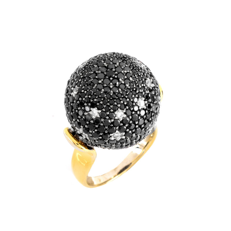 Approx. 2.10 Carat Micro Pave Set Round Brilliant Cut Black and White Diamond and 18 Karat Yellow Gold Ball Ring.