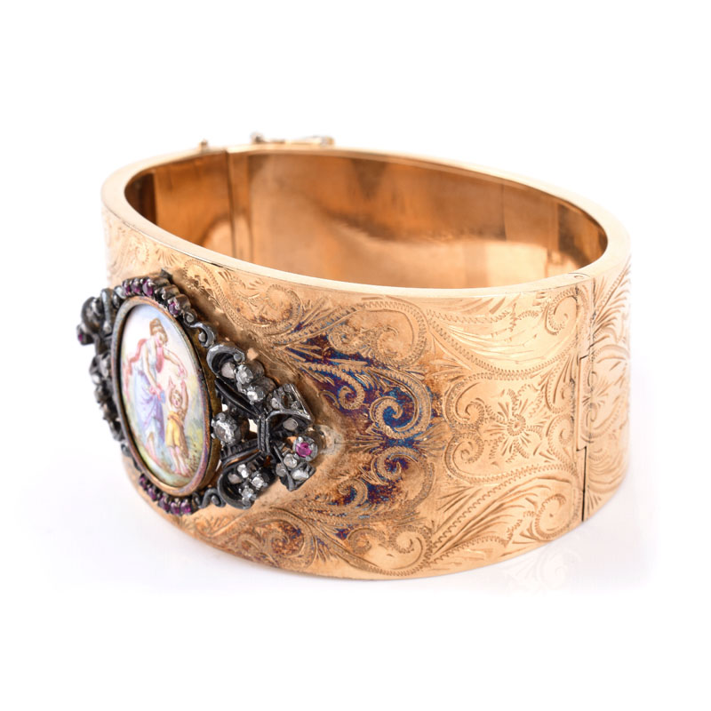 Antique 14 Karat Yellow Gold Hinged Wide Cuff Bangle with Porcelain Miniature, Diamond and Gemstone Accents.
