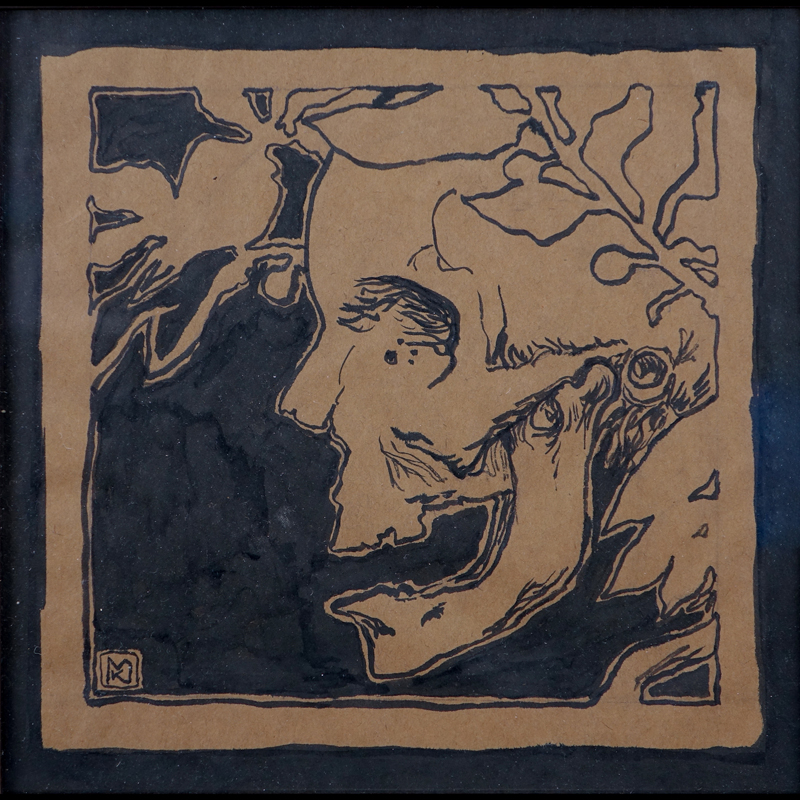 "Kolomann Moser, Austrian (1868 - 1918) Ink on brown paper ""Profile""."