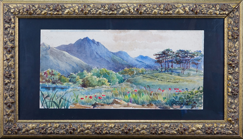 "Attributed to John La Farge, American (1835 - 1910) Watercolor ""Landscape"" Signed lower right and dated ?."