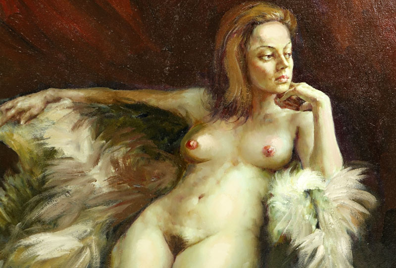 "Yuri Skorupsky, American/Russian (20th Century) Oil on canvas ""Nude""."