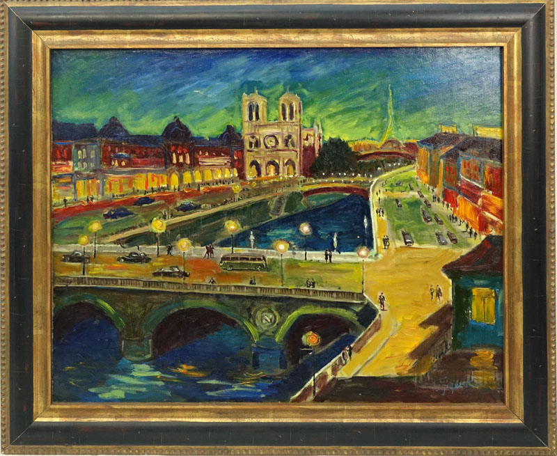 "20th Century Russian School Oil On Board ""Paris Street""."