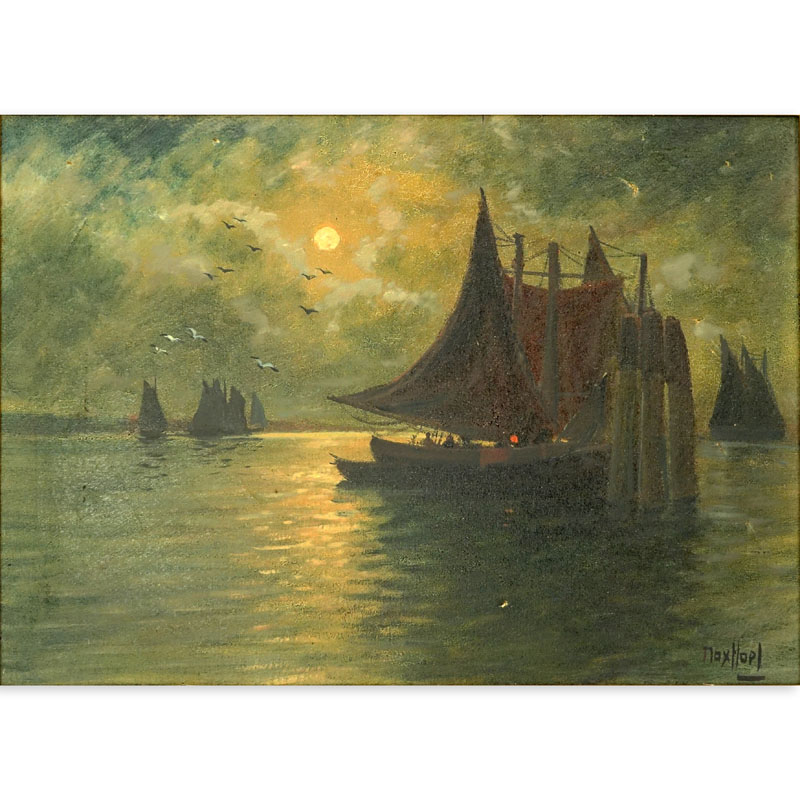 "19/20th Century Oil on Canvas ""Nautical Scene"" Signed Max Hopl?"