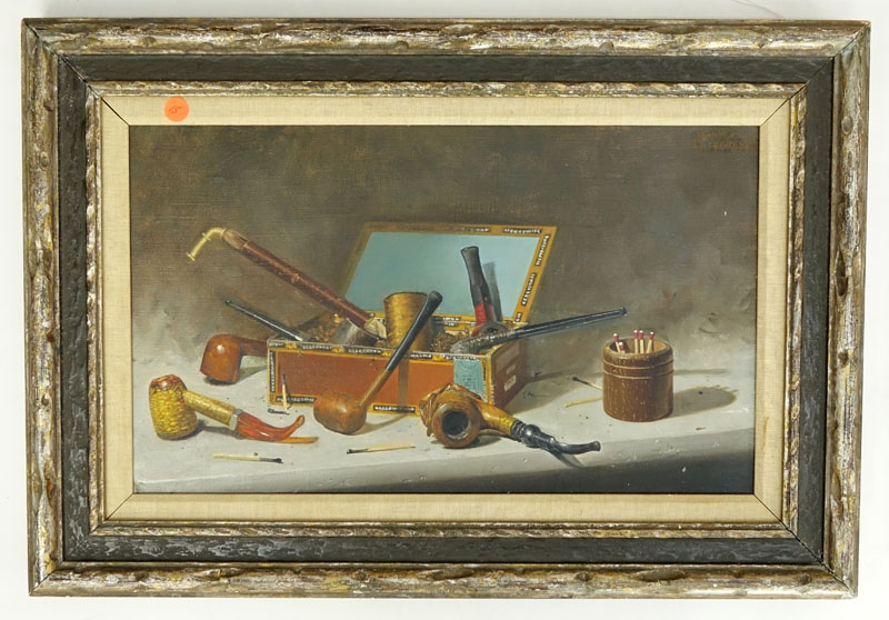 Frank Liljegren, American  (born 1930) Oil on Canvas, Still Life Composition with Smoking Pipes and Matches,
