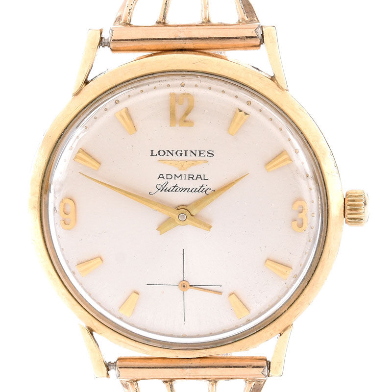 Circa 1963 Men's Longines Admiral Gold Filled Automatic Movement Watch with added gold tone bracelet.
