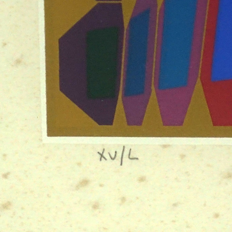 "Victor Vasarely, Hungarian  (1906 - 1997) Lithograph, Cubic Composition, Pencil Signed and Inscribed ""XV/L"" on Lower Border."