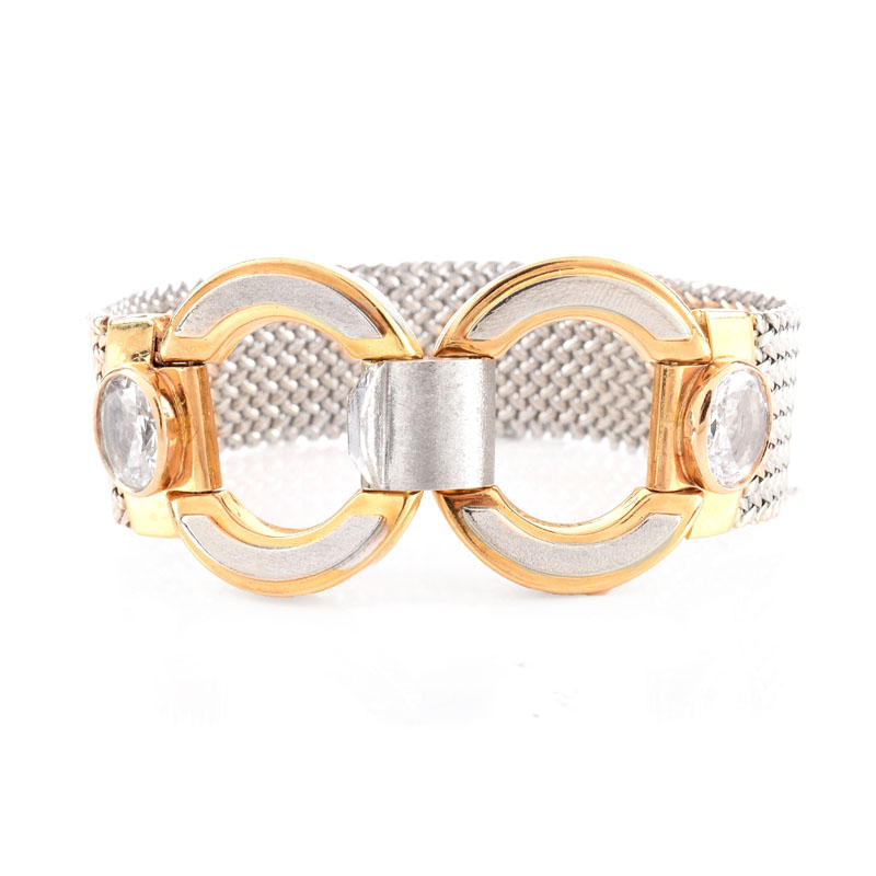 Vintage Italian 18 Karat Yellow and White Gold Mesh Link Bracelet with Cubic Zirconia Accents.