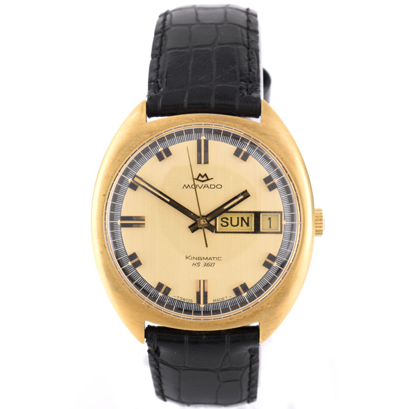 Men's Vintage Movado Kingmatic HS 360 18 Karat Yellow Gold Automatic Movement Watch with later Alligator Strap and 14 Karat Yellow Gold Buckle.