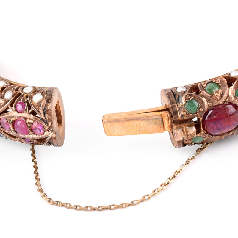 Vintage Ruby, Emerald, Pearl, Silver and Gold-filled Hinged Bangle Bracelet. Unsigned. Missing a small pearl.