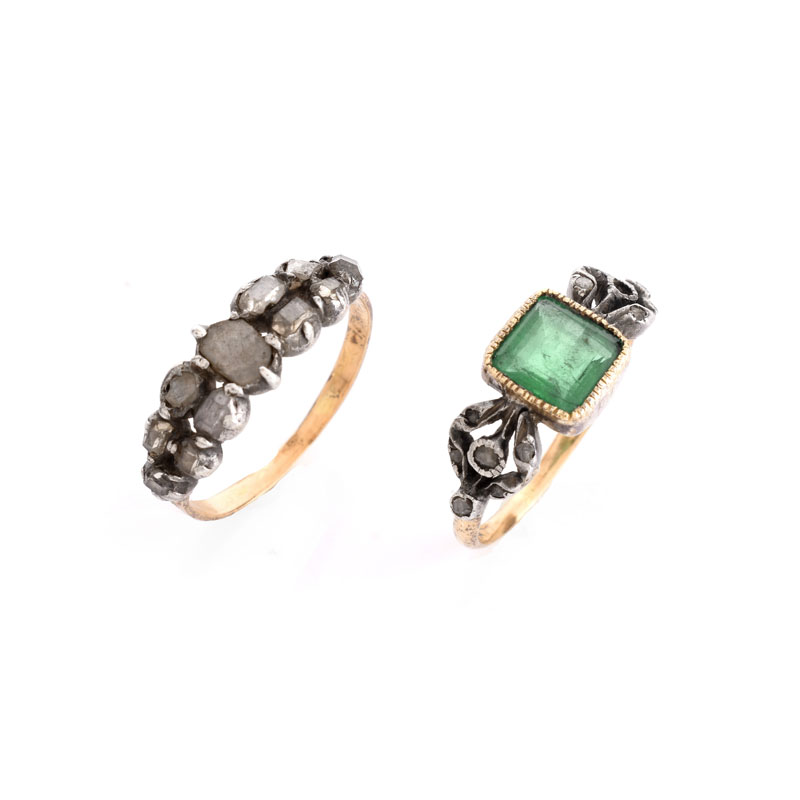 Two (2) Antique Rings Including an Emerald and 14 Karat Yellow Gold Ring.