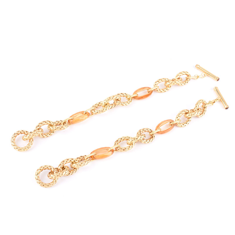 Two (2) Italian Yellow Gold and Citrine Link Bracelets. Stamped Italy 18K.