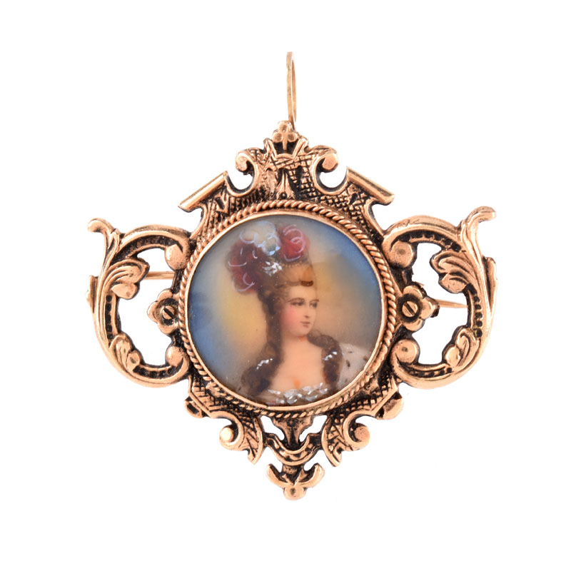 Vintage 14 Karat Yellow Gold Pendant / Brooch with Painted Portrait Miniature.