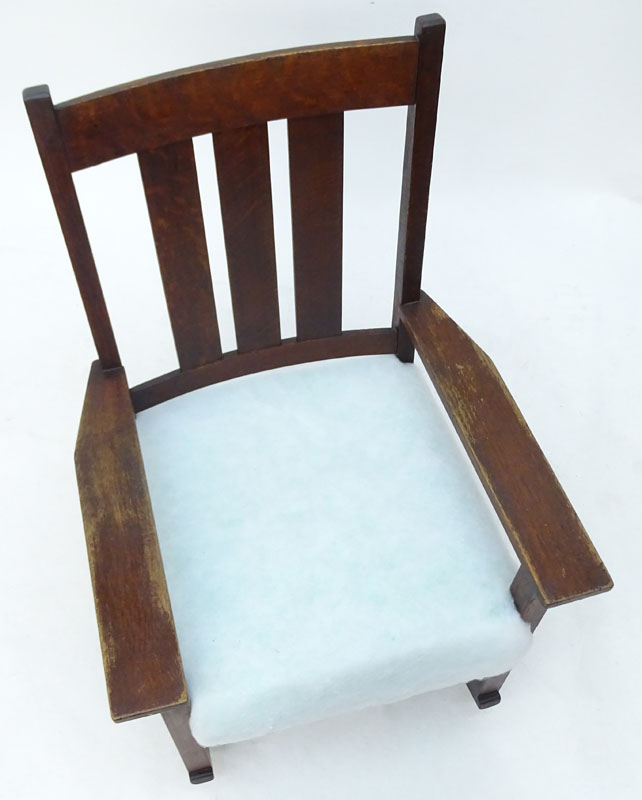 Early to Mid 20th Century L. & J.G. Stickley Style Mission Oak Rocking Chair.