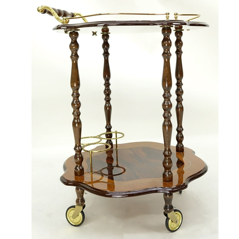 Vintage Italian Burl Lacquer Rolling Cart / Trolley by Sorrento.