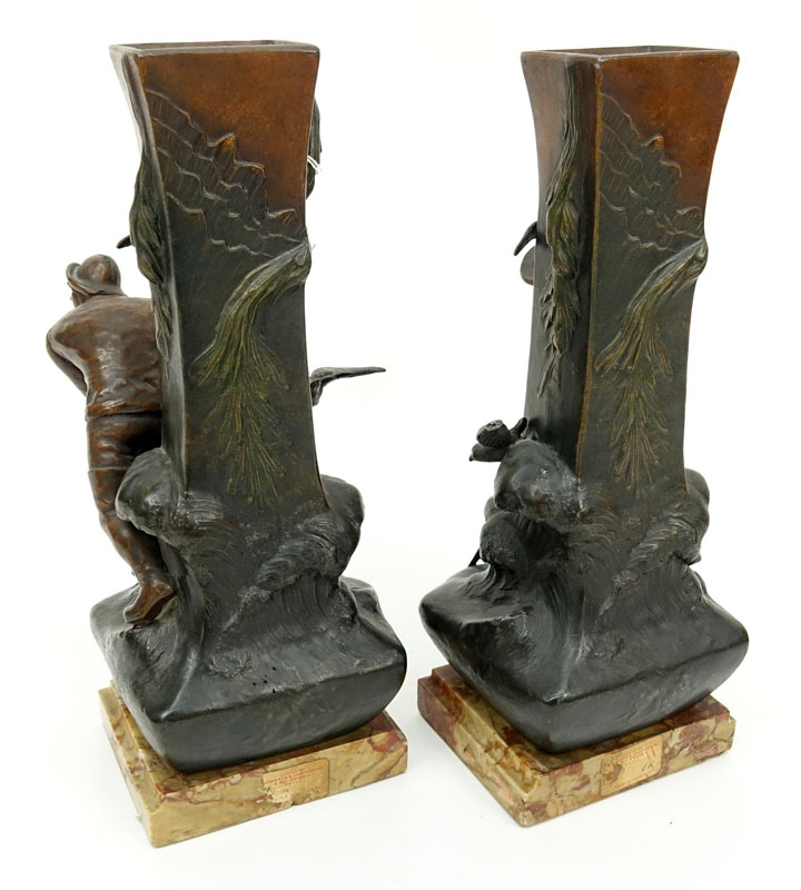 Pair of Art Nouveau Cold Painted Metal Sculptures of Whalers / Fishermen on Marble Bases.