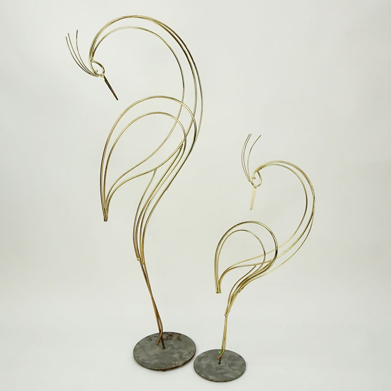 Two (2) Curtis Jere, Chinese/American (1910 - 2008) Polished Brass Bird Sculptures, Signed and Dated 1998.