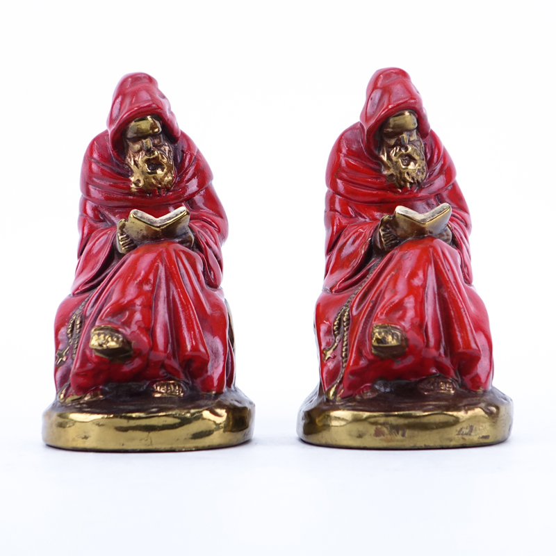 Pair of Marion Bronze Co. Gilt Bronze-Clad and Polychrome, Robed Monk Reading, Figural Bookends.