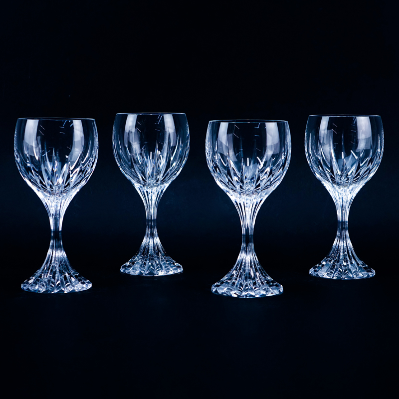 "Four (4) Baccarat ""Massena"" Crystal Goblets. Signed."