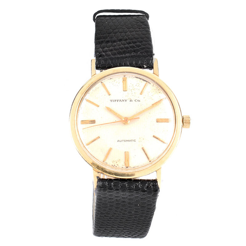 Man's Vintage Tiffany & Co 14 Karat Yellow Gold Automatic Movement Watch with Lizard Strap, Stamped 14K.