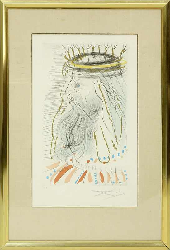Salvador Dali, Spanish (1904 - 1989) Color Etching with Gold Dust on Arches Paper.