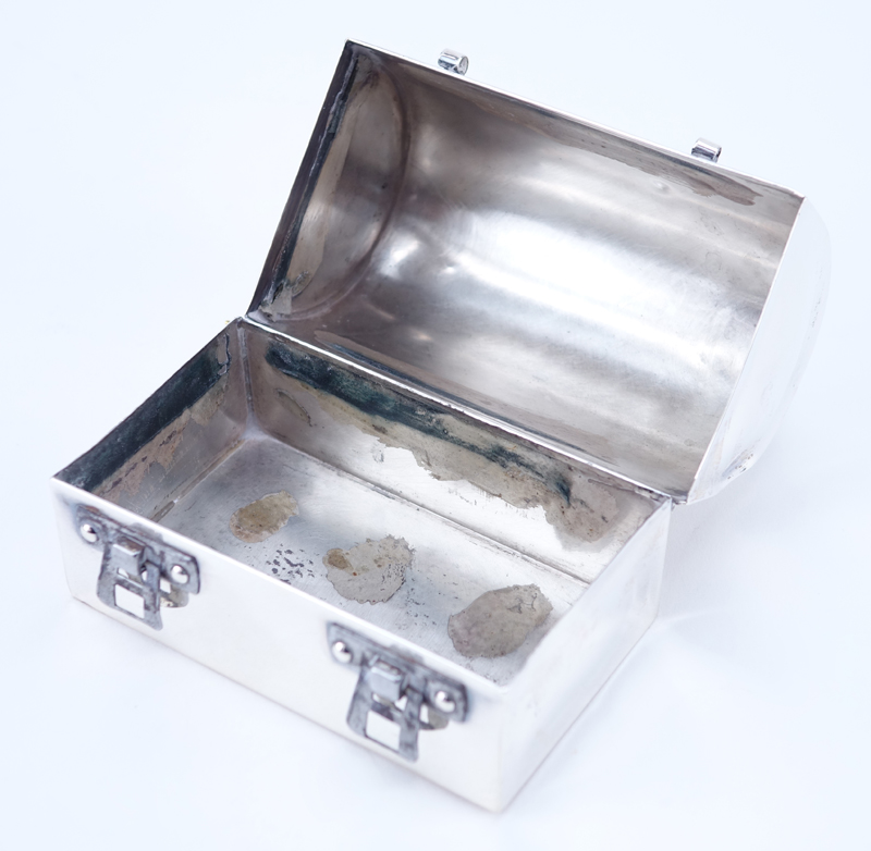 "Cartier Hand Made Sterling Silver Miniature Lunch Box. Inscribed ""Linda And Jay November 27, 1971""."
