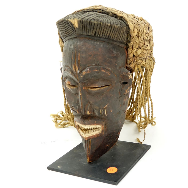 Antique or Later African Chokwe Mask with Headdress on Fitted Metal Stand.