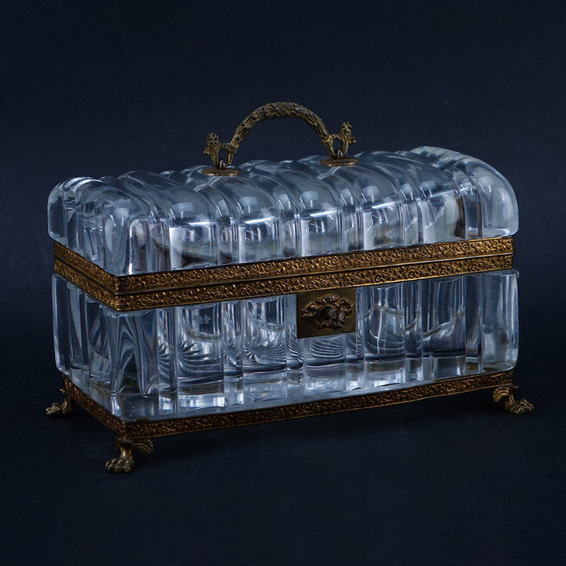 Antique Crystal And Bronze Vanity Box. Key included. Unsigned. Good condition.