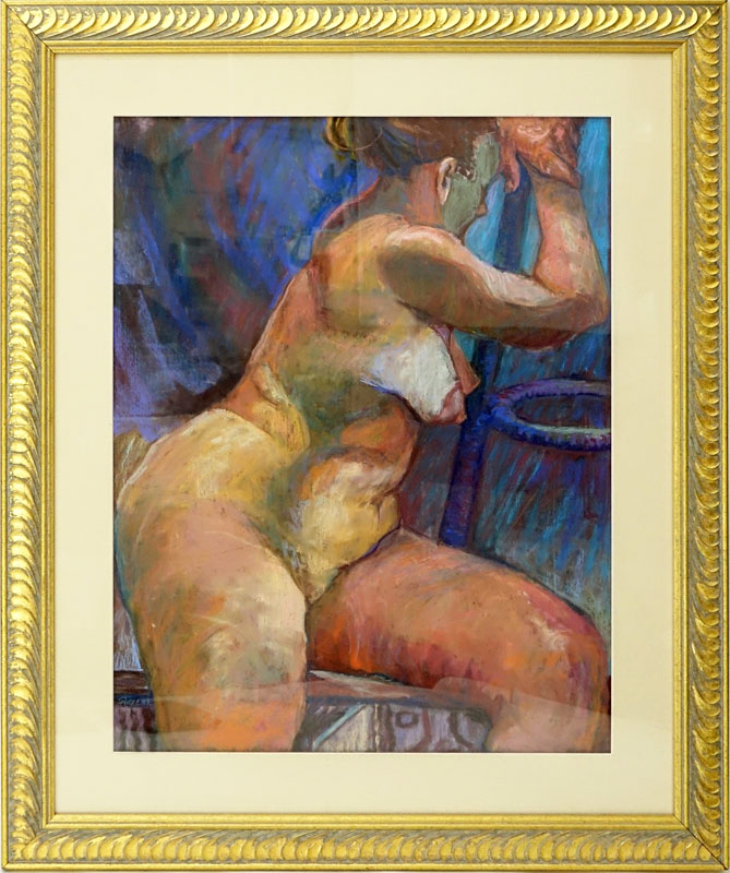 "Roxene Sloate (20th Century) Pastel on Paper ""Contemplation"" Signed Lower Left. Framed under Glass."
