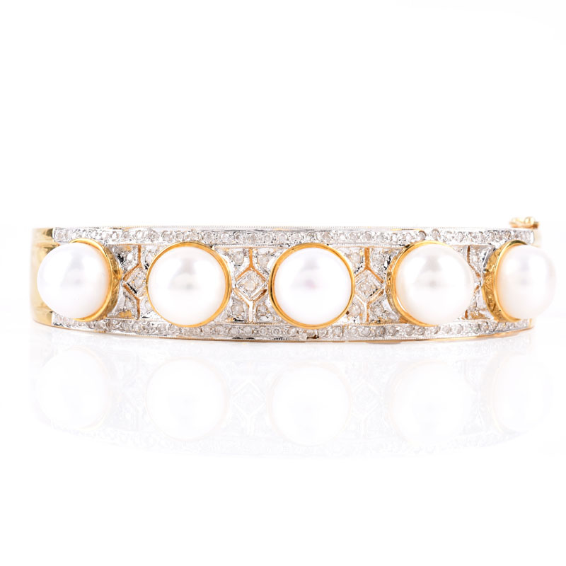 Micro Pave Set Diamond, Pearl and 14 Karat Yellow Gold Hinged Bangle Bracelet.