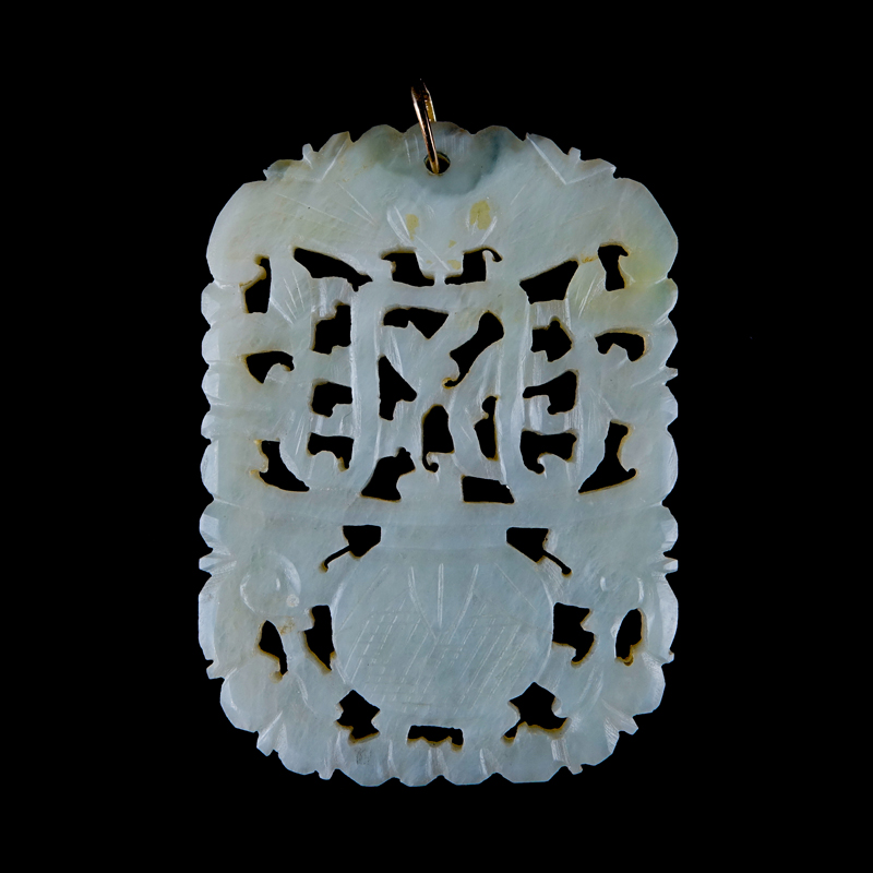 Antique Chinese Carved Celadon Jade Reticulated Pendant/Plaque 14 Karat Yellow Gold Clasp.