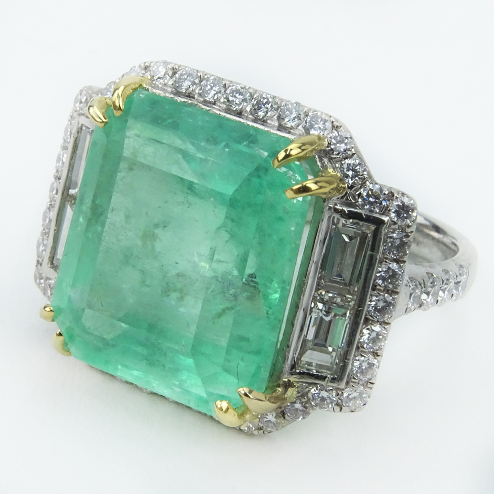 AGL Certified 16.27 Carat Colombian Light Green Emerald,