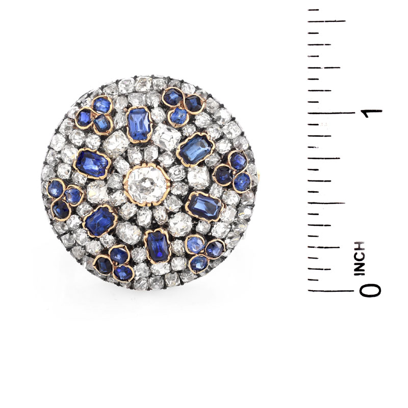 Antique Approx. 8.0 Carat Old European Cut Diamond, 3.0 Carat Oval and Round Cut Sapphire,