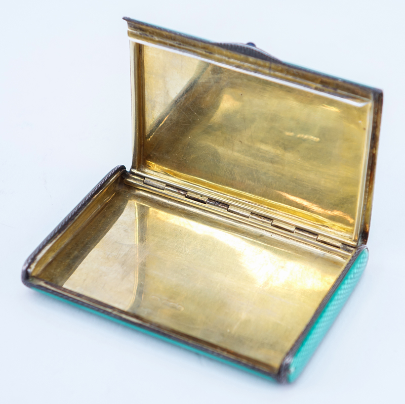 Antique Gilt Silver And Guilloche Enamel Card Box. The case of bright green enamel, the interior is gilt.