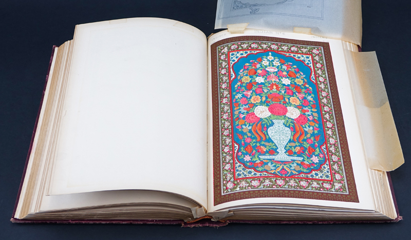 "Owen Jones, British (1809–1874) Book with color plates ""The Grammar of Ornament"" 1910. Hardcover, gilt edges."