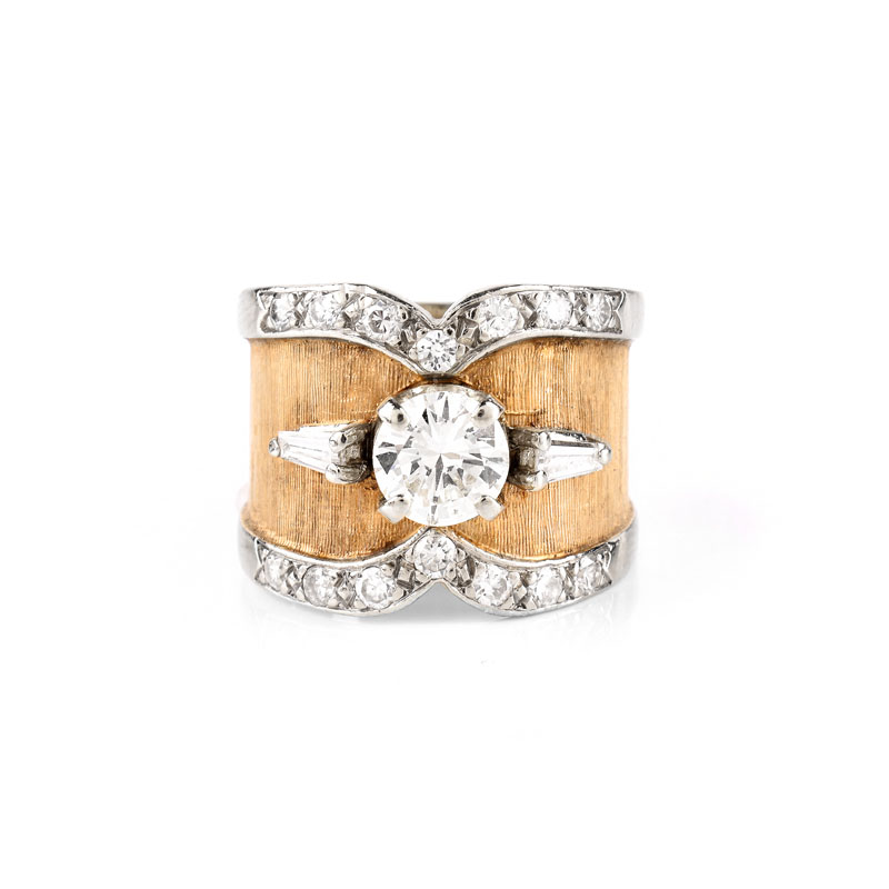 Vintage Diamond and 14 Karat Yellow Gold Engagement Ring Set in the Center with an Approx. 1.0 Carat Round Brilliant Cut Diamond.
