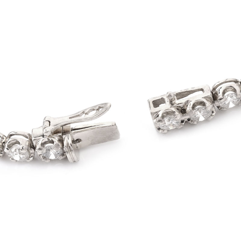 Approx. 9.0 Carat Graduated Round Brilliant Cut Diamond and 18 Karat White Gold Line Bracelet.