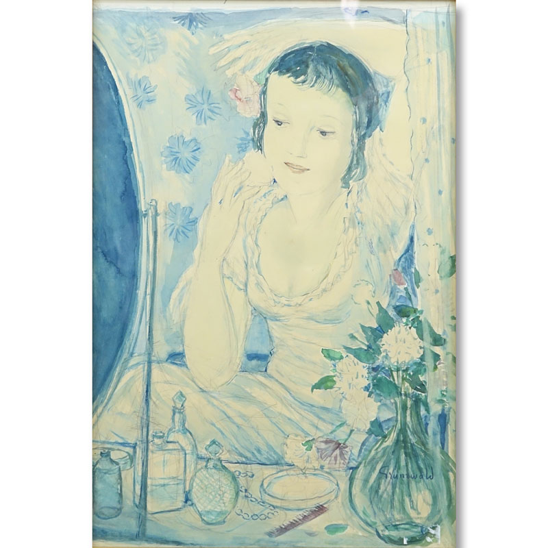 Isaac Grünewald, Swedish  (1889-1946) Watercolor, Lady at Her Dressing Table. Signed lower right.