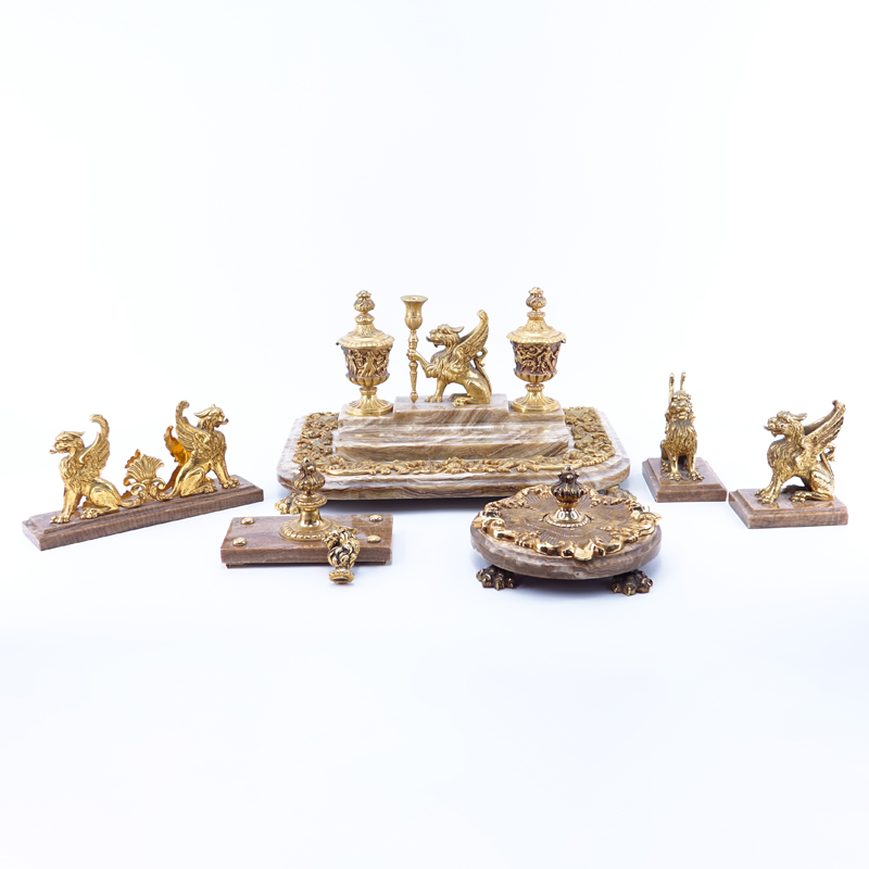 Six (6) Piece Gilt Bronze And Marble Probably English Georgian Style Desk Set. Possibly assembled. Stamped REGISTERED.