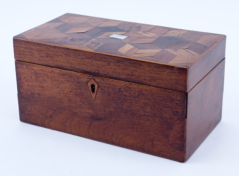 Antique English Tea Caddy, Parquetry Inlaid Top with Mother of Pearl en center.