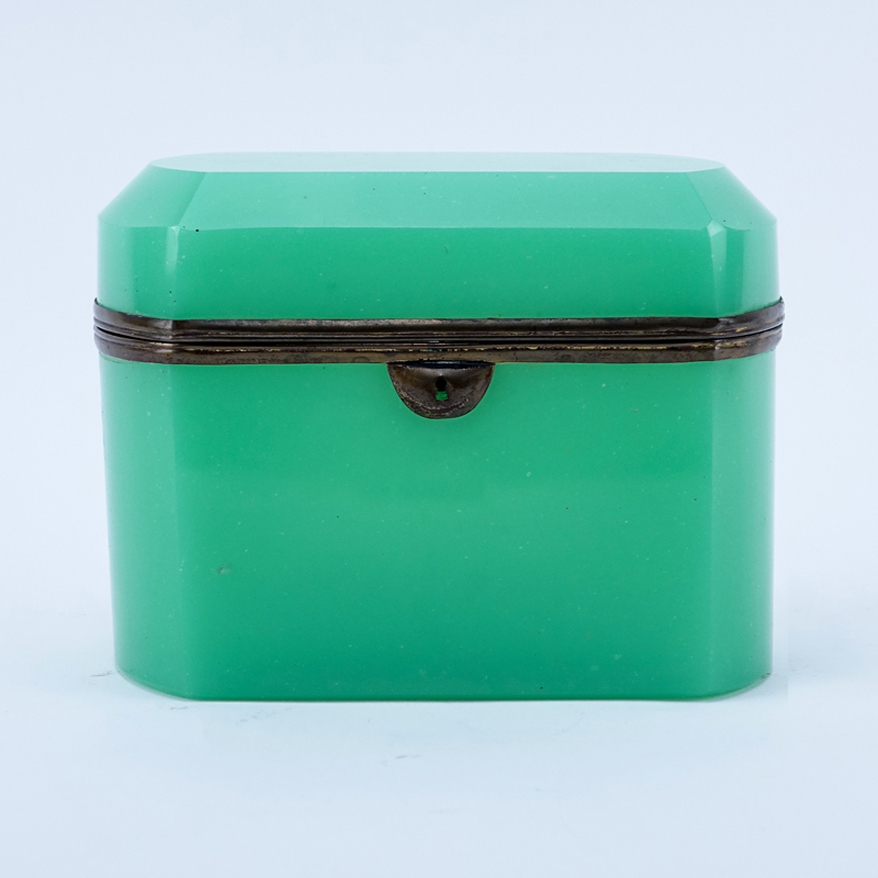 Antique Green Opaline Glass Hinged Box.