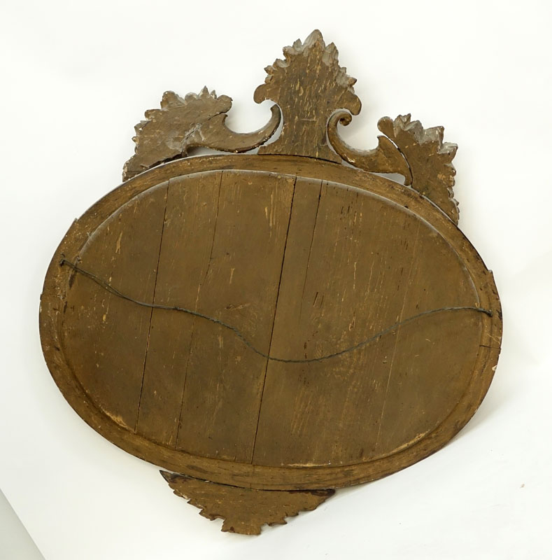 19/20th Century French Louis XVI Style Round Giltwood Carved Mirror.