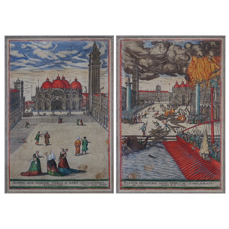 "After: Georgius Housnaglius (15/16th C.) Antique Color Engravings, ""Augusti apud Venetos Templi D. Marci Accuratissima Effiguratio""  and ""Palatii Senatorii aupd Venetos Conflagratio"", 1578."