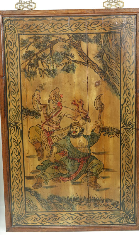 Pair of Mid to Late 20th Century Chinese Wood Panels Depicting Warriors.