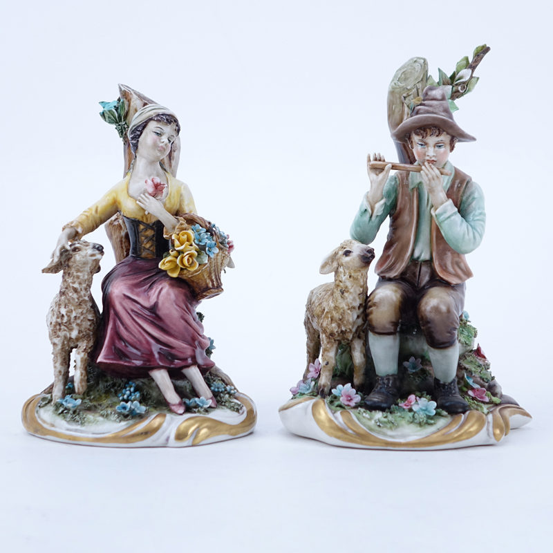 "Two (2) Works Of Art Italy Porcelain Figurines. ""Shepard & Shepardess""."
