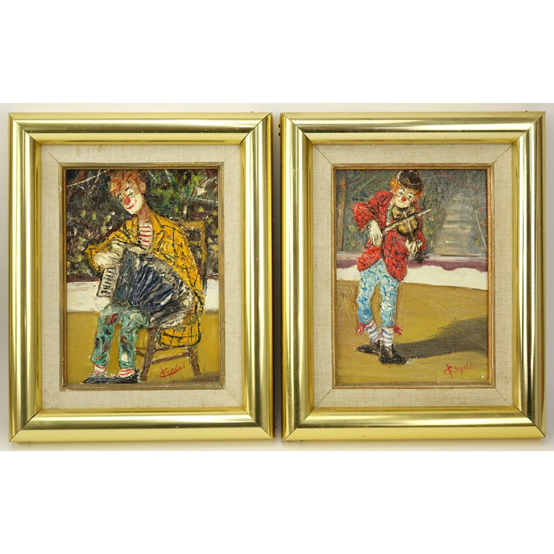 "Giuseppe Fryda (20th C) 2 Oil on canvas ""Clowns"". Signed lower right, Gallerie de L'Av A. Renoir stamp en verso."
